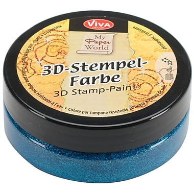 Viva Decor 3D Stamp Paint, Turquoise Metallic