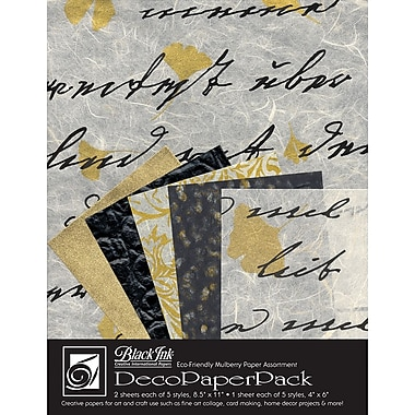 Graphic Products Decorative Paper Pack 11 x 8.5 inch, Ebony & Ivory