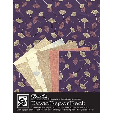 Graphic Products Decorative Paper Pack 11 x 8.5 inch, Metallic Ginkgos
