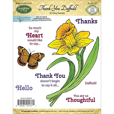 Justrite Papercraft Cling Stamp, Thank You Daffodil