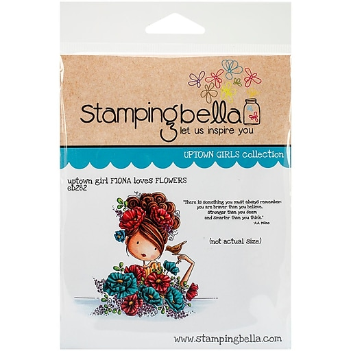 Stamping Bella Cling Rubber Stamps, Uptown Girl Fiona Loves Flowers