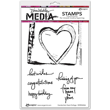 Dina Wakley Dina Wakley Media Cling Stamps, Handwritten Heart Collage
