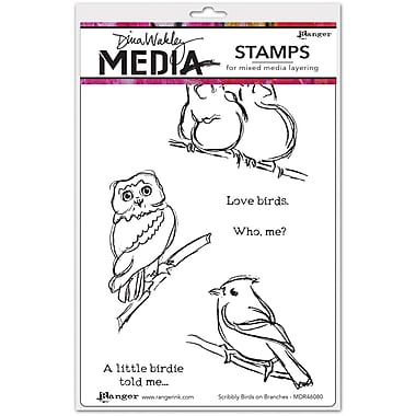 Dina Wakley Dina Wakley Media Cling Stamps, Scribbly Birds On Branches
