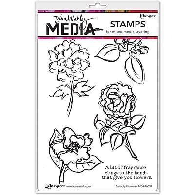 Dina Wakley Dina Wakley Media Cling Stamps, Scribbly Flowers