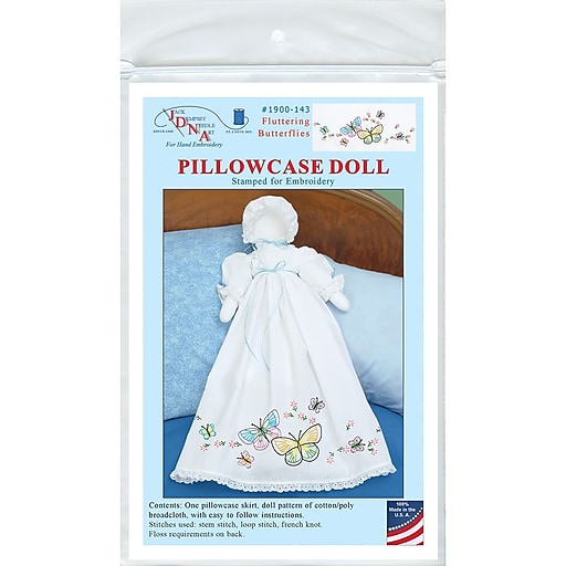 Jack Dempsey Stamped Pillowcase Doll Kit, White Fluttering Butterflies