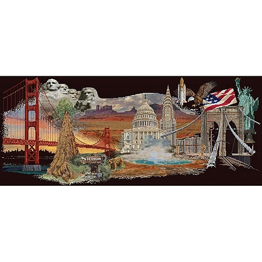 Thea Gouverneur America On Aida Counted Cross Stitch 13.5 x 29 inches