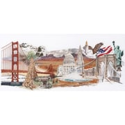 Thea Gouverneur America On Linen Cross Stitch Kit 13.5 x 29 inch