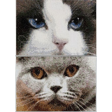 Thea Gouverneur Aida Counted Cross Stitch Kit 4.75 x 6.75 inch, Cats Smokey + Blue