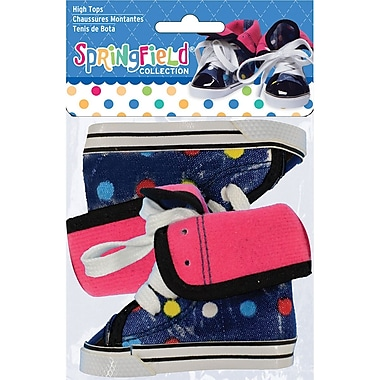Fibre Craft High Tops-Blue With Polka Dots
