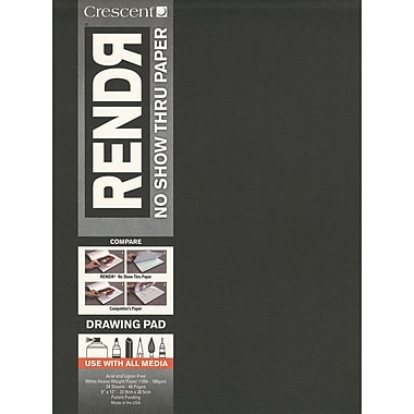 Crescent Cardboard Co RENDR No Show Thru Drawing Pad 12 x 9 inch, 24 Pages