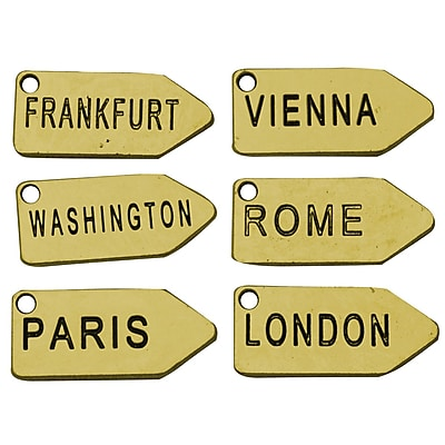 FabScraps Embellishment Travel Tags Brass 0.75 x 1.75 inch