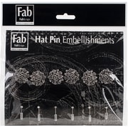 FabScraps Pin Embellishments Silver 8 x 8 inch, Rose