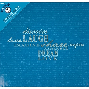 Colorbok Post Bound Album 12 x 12 inch, Navy With Words