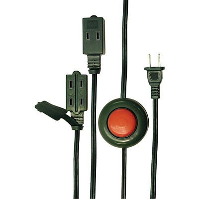 AXIS® Extension Cord with Foot Switch, 3-Outlet, 9', Green