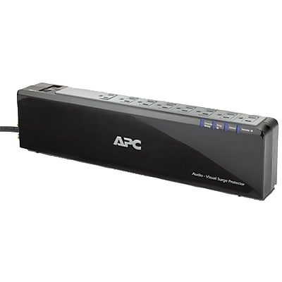 APC® Premium Audio/Video Surge Protector With Coax Protection, 8-Outlet, Black