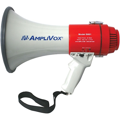 AmpliVox Sound Systems® S601R Mity-Meg Rechargeable Megaphone, 15 W