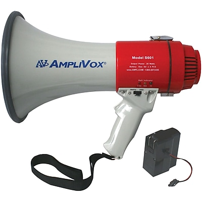 AmpliVox Sound Systems® SB601R Mity-Meg Rechargeable Megaphone Bundle With Battery, 15 W