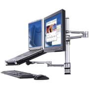 Visidec Focus Combination Desk Mount For Notebook And Monitor Display Upto 17.6 lbs., Silver