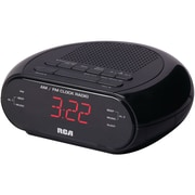 RCA AM/FM Alarm Clock with Red LED And Dual Wake, Black