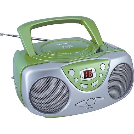 Sylvania SRCD243M Portable CD Boom Box With AM/FM Radio, Green