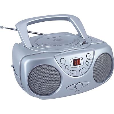 Sylvania Portable CD Boom Box with AM/FM Radio SRCD243M, Silver