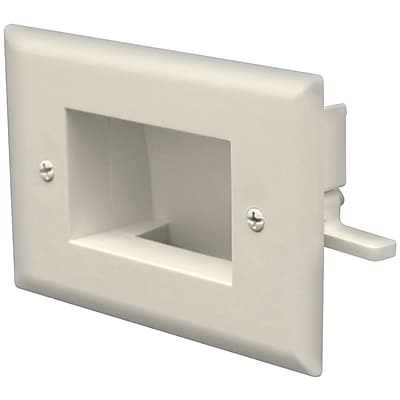 Datacomm™ Easy Mount Recessed Low Voltage Cable Plate, Ivory
