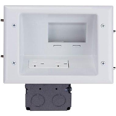 Datacomm™ Recessed Low Voltage Mid-Size Plate With Duplex Receptacle, White