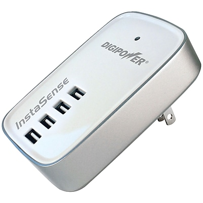 DigiPower® 4.2 A 4-Port USB Travel Wall Charger, White