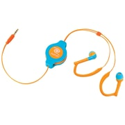 ReTrak™ Retractable Sports Wrap In-Ear Earbuds, Neon Blue/Orange