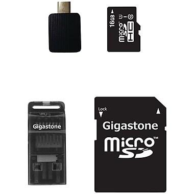 Gigastone – Carte mémoire microSDHC de classe 10 UHS-1 avec adaptateurs USB, micro USB et microSD, 16 Go (GIG4IN1C1016GR)