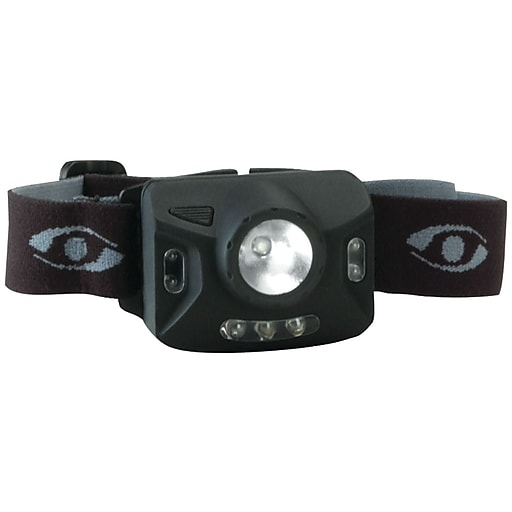 "Cyclops® Ranger CREE® XPE 126-Lumens 4 Stage LED Headlamp W/3 Green LED, Black, 13.5"" x 8.5"" x 3.9"""