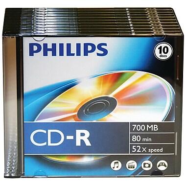 Philips – 52 x CD-R de 700 Mo et 80 min avec boîtiers minces, 10/paquet (HOOCDR80D52N10)
