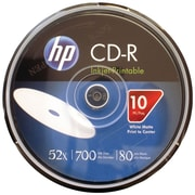 HP 700MB 80-Min 52x Printable CD-Rs, 10/Pack (HOOCR52WJH010)