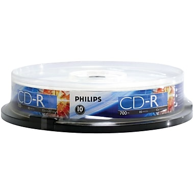Philips – CD-R 52x de 700 Mo 80 min, 10/paquet (HOOCR7D5NP10)