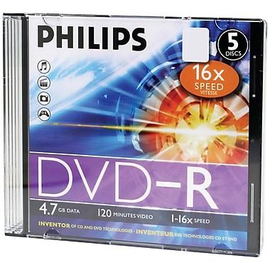 Philips DM4S6S05F/17 4.7GB 16x DVD-Rs, Slim Jewel Cases, 5/Pack