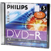 Philips DM4S6S05F/17 4.7GB 16x DVD-Rs, Slim Jewel Cases, 5/Pack