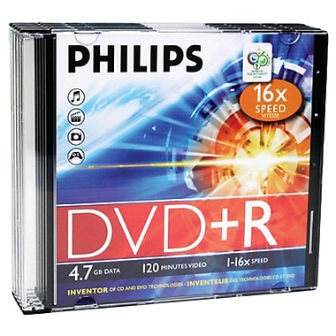 Philips 4.7GB 16x DVD+Rs With Slim Jewel Cases, 5/Pack (HOODR4S6S05F)