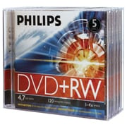 Philips 4.7GB 4x DVD+RWs With Jewel Cases, 5/Pack (HOODW4S4J05F)