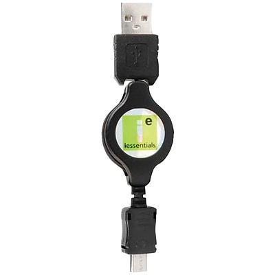Iessentials 3' Micro USB to USB Retractable Data Cable, Black