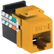 Leviton® QuickPort® GigaMax Cat 5e Channel-Rated Keystone Jack Connector, Yellow