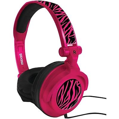 Maxell Amplified Over-Ear Headphone, Zebra Hot Pink