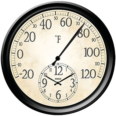 Taylor® Outdoor Round Decorative Thermometer with Clock, 14