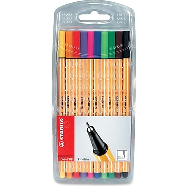 Schwan-Stabilo Point 88 Fine Line Pens, 0.4mm, Assorted, 10/Pack