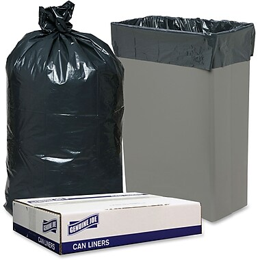 Genuine Joe 23-Gallon Slim Jim Can Liners, Black, 150/Box
