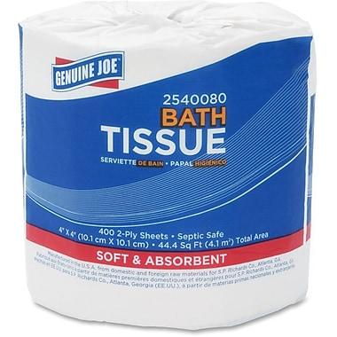 Genuine Joe – Rouleaux de papier hygiénique standards 400 feuilles 2 épaisseurs, 80 roul./paq.