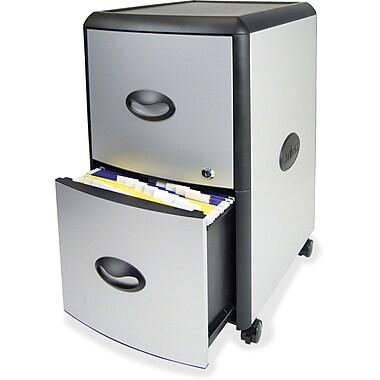 Storex - Tiroirs de rangement avec dessus en métal robuste, 19 x 15 x 23 (po), platine/gris