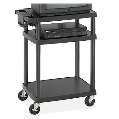 Safco® Adjustable AV Cart, Plastic, Black