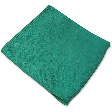 Genuine Joe General Purpose Microfiber Cloth, Green, 12/Pack