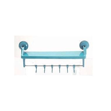 Wall Mates Push 'N Stay Suction 14'' Storage Shelf w/ Hooks; Blue