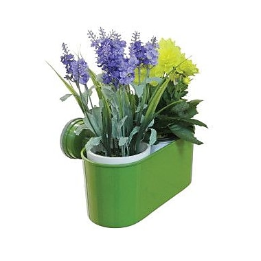Wall Mates Push 'N Stay Oval Suction Flower and Plant Holder; Green